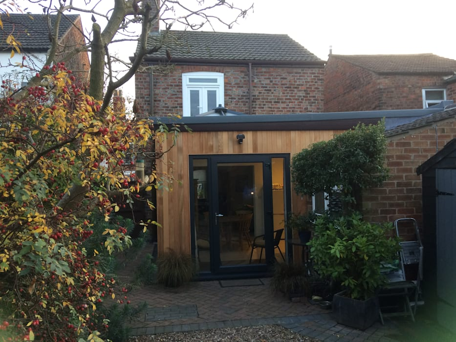 Contemporary cedar clad timber frame extension on traditional Victorian House: modern  by JMAD Architecture (previously known as Jenny McIntee Architectural Design), Modern