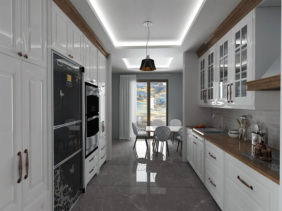 Murat Aksel Architecture KitchenCabinets & shelves Wood White