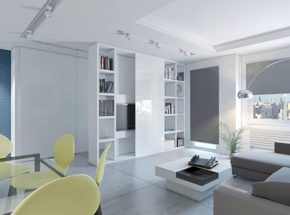 现代客厅設計點子、靈感 & 圖片 根據 A3D INFOGRAFIA 現代風