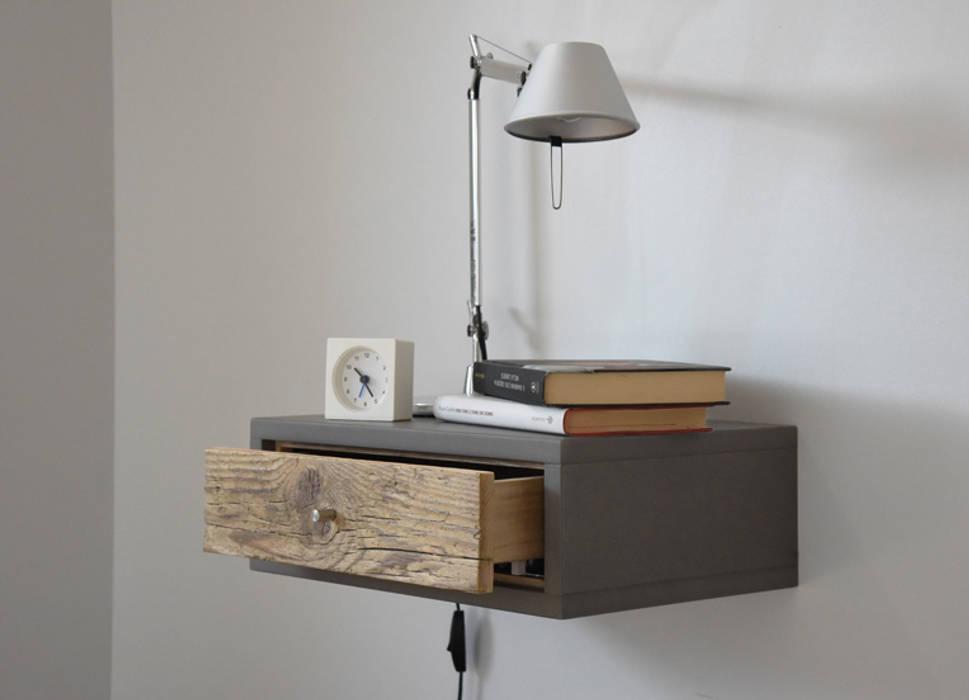 Letto Sospeso Muro : Floating table comodino piccolo a muro con 1 cassetto in legno