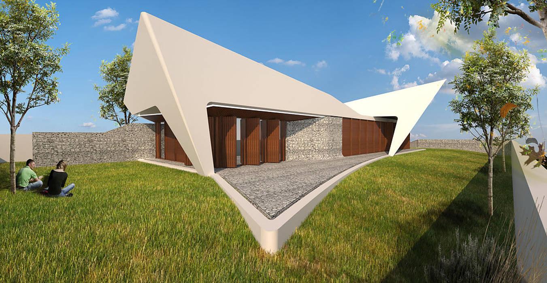 Habitação Unifamiliar Isolada T3 - Fusão da Dispersão: Casas  por Office of Feeling Architecture, Lda,