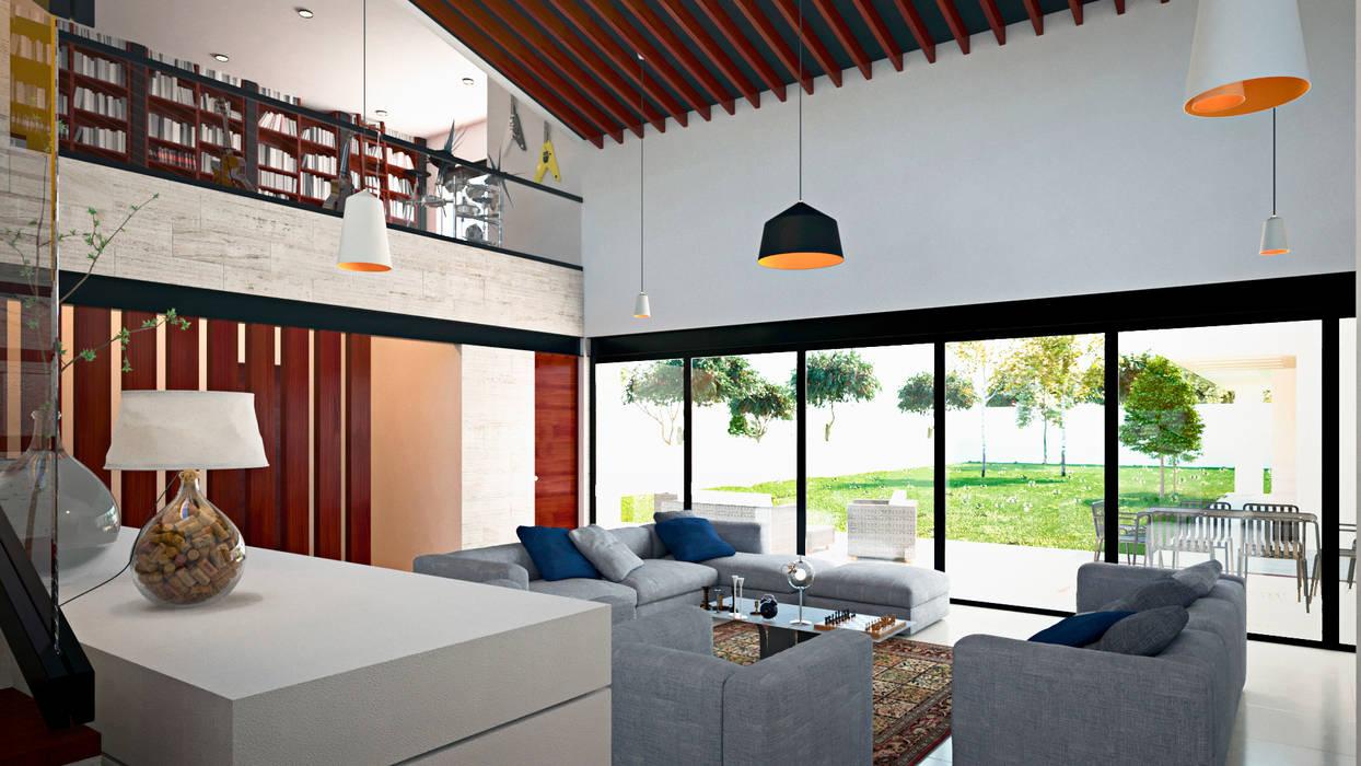Sala: Salas de estilo mediterraneo por Laboratorio Mexicano de Arquitectura