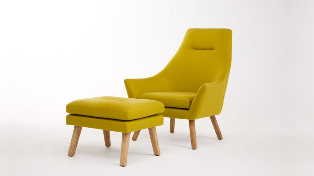 Helsinki Chair & Footstool www.mezzanineinteriors.co.za Living roomSofas & armchairs Yellow