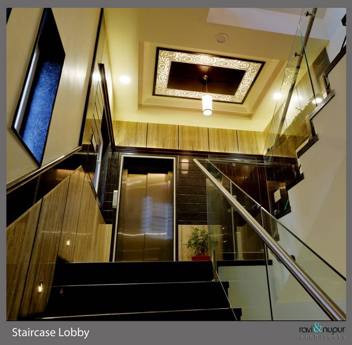 Staircase Lobby Modern corridor, hallway & stairs by RAVI - NUPUR ARCHITECTS Modern