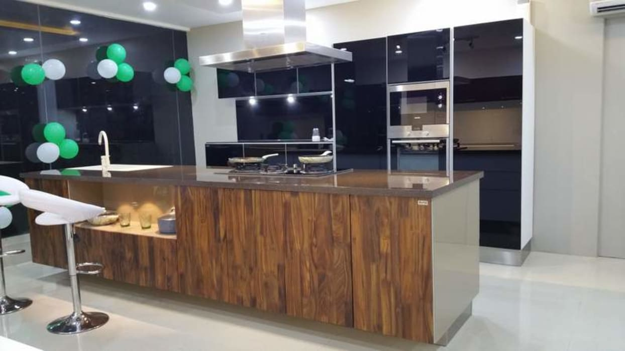 Back Painted Glass And Veneer Shutter High End Kitchen Design Asian By Asada Decor Pvt Ltd Asian Engineered Wood Transparent Homify