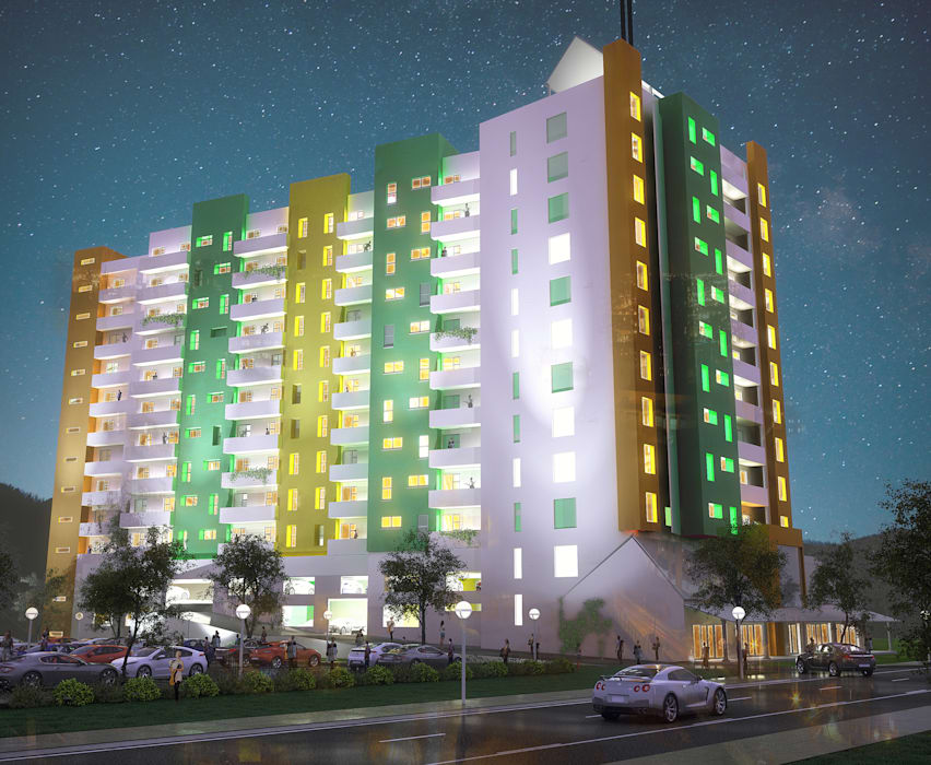 Urban concept architects Maisons modernes Béton armé Multicolore