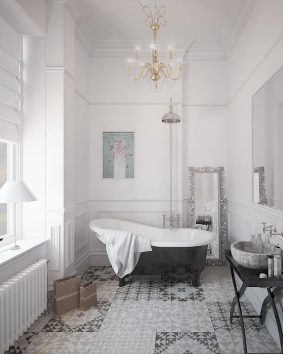 Bathroom CGI Visualisation #1 Classic style bathroom by White Crow Studios Ltd Classic Ceramic