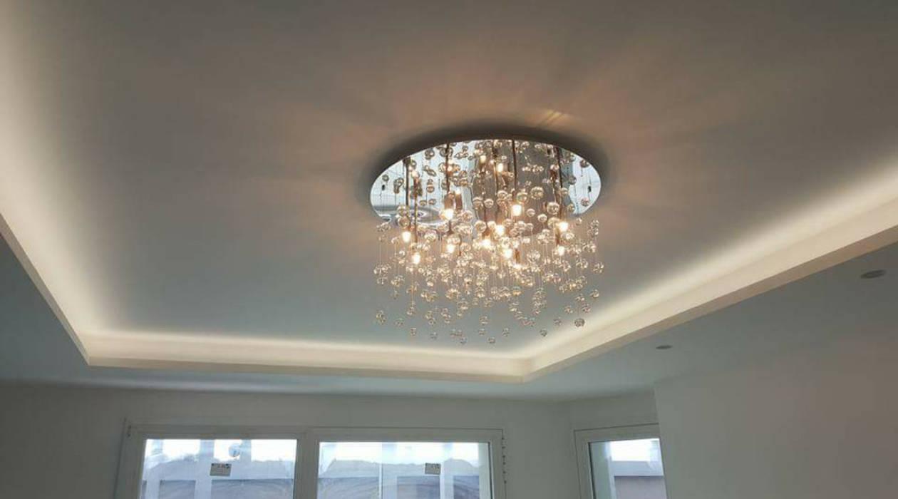 Plafoniera Per Sala Da Pranzo : Plafoniera decoro a centro stanza e strip led perimetrali con luce