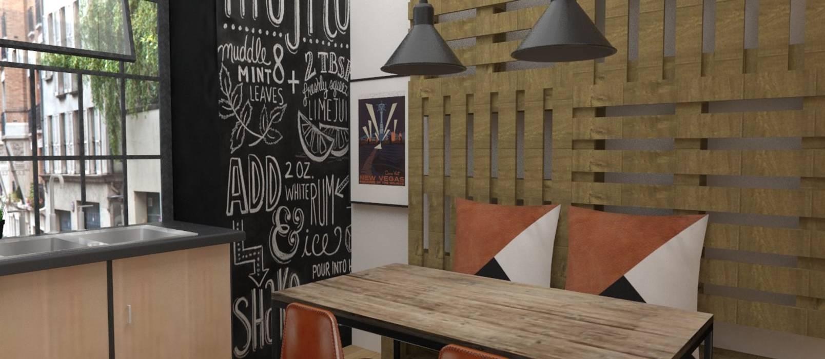 Cocina pequeña estilo IKEA: Cocinas de estilo  de EMS interiorismo, Industrial