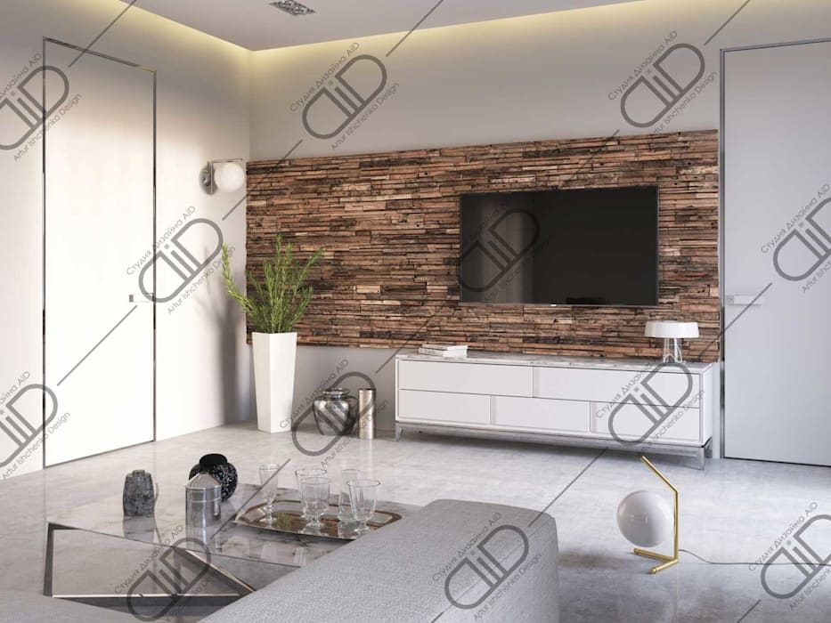 ​Interior Design and Rendering Design Studio AiD Modern living room Engineered Wood White