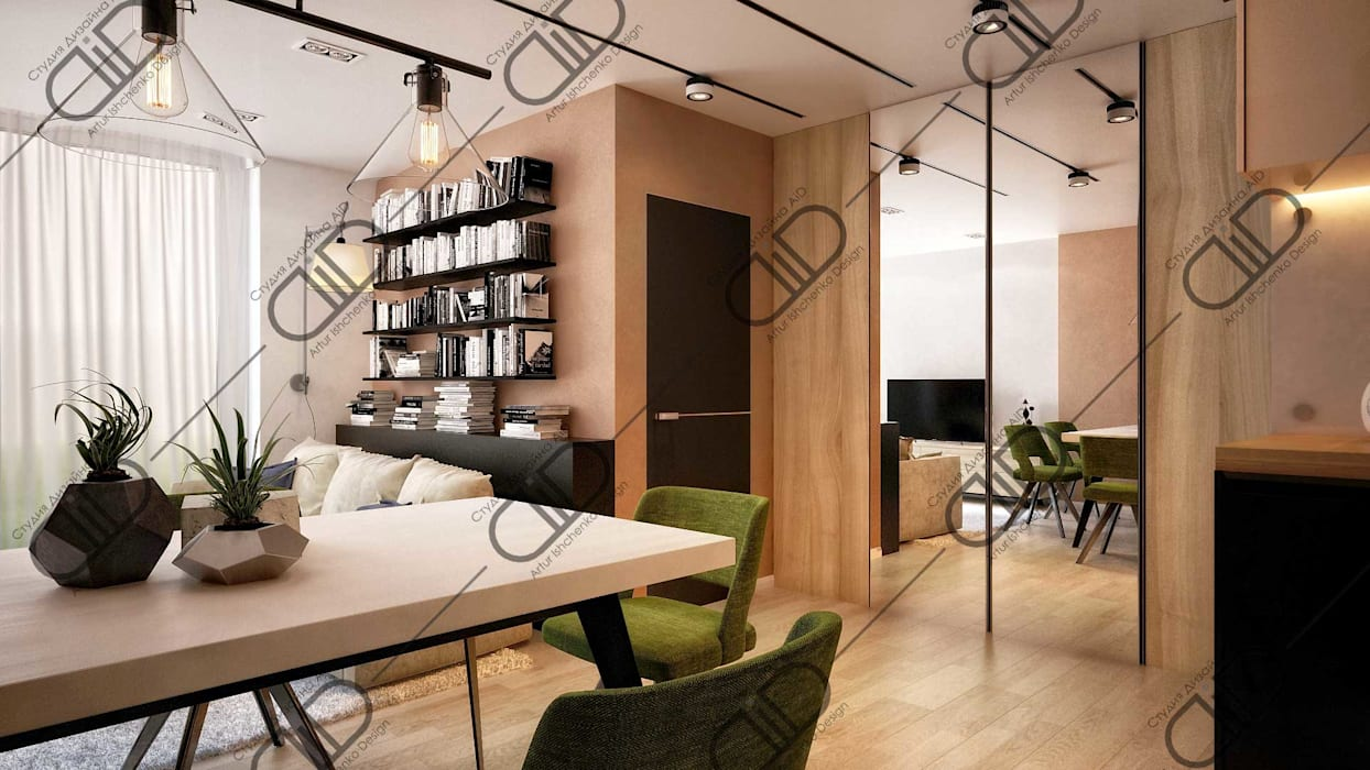 Interior Design and Rendering:  Dining room by Design Studio AiD,