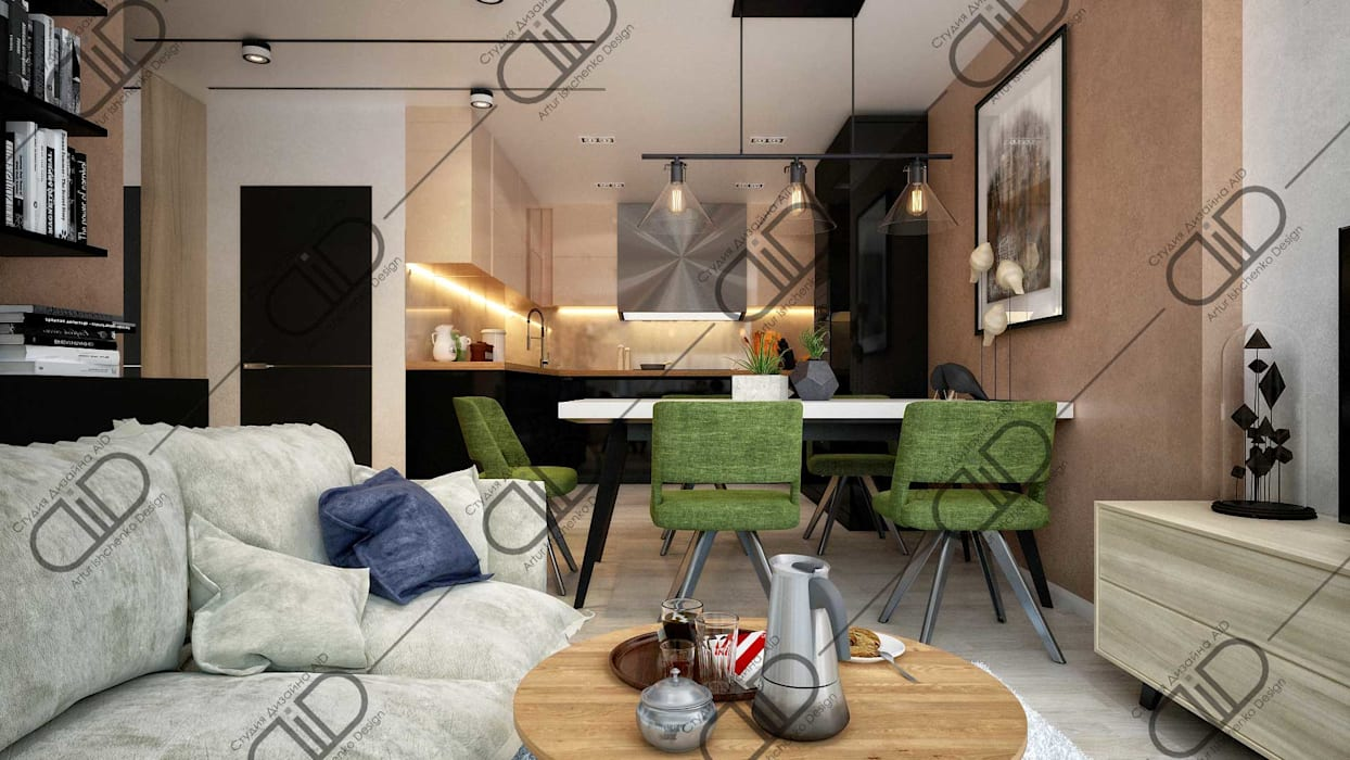 Interior Design and Rendering Design Studio AiD Modern living room Engineered Wood Brown