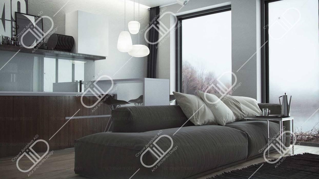 Design Studio AiD 现代客厅設計點子、靈感 & 圖片 玻璃 White