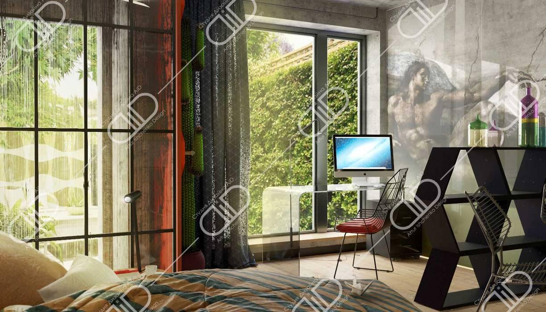Ruang Studi/Kantor Modern Oleh Design Studio AiD Modern Kaca