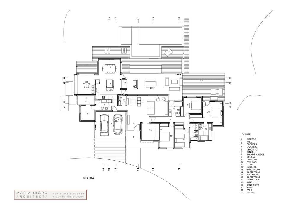 Casa LR4546: Casas de estilo  por MARIA NIGRO ARQUITECTA