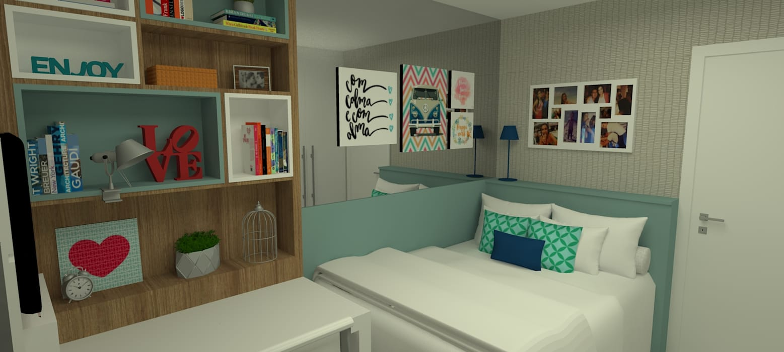Cuartos de estilo  por Carolina Mendonça Projetos de Arquitetura e Interiores LTDA