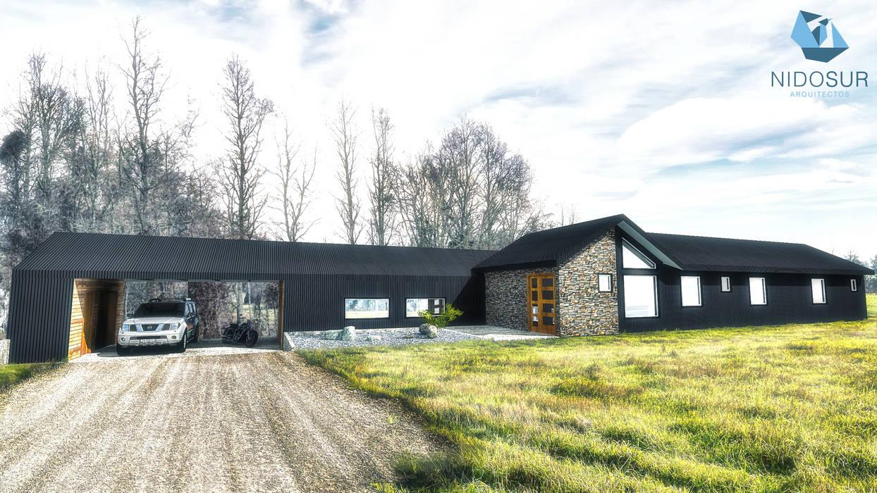 Fachada: Casas unifamiliares de estilo  por NidoSur Arquitectos - Valdivia,