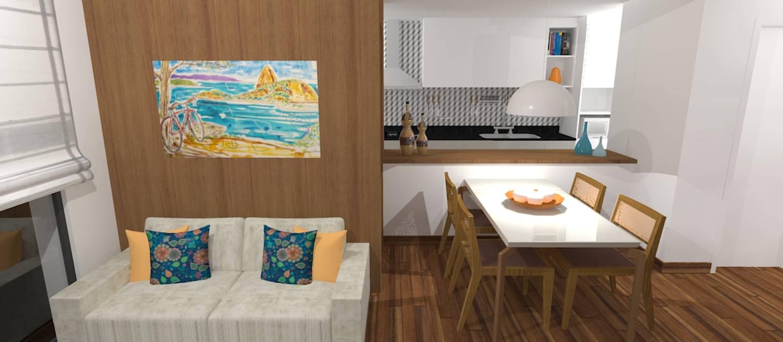 Гостиная в . Автор – Carolina Mendonça Projetos de Arquitetura e Interiores LTDA, Модерн