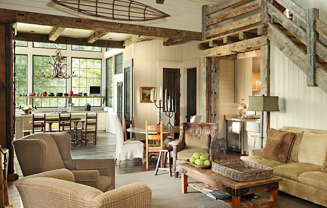 Salones rurales de Jeffrey Dungan Architects Rural Madera Acabado en madera
