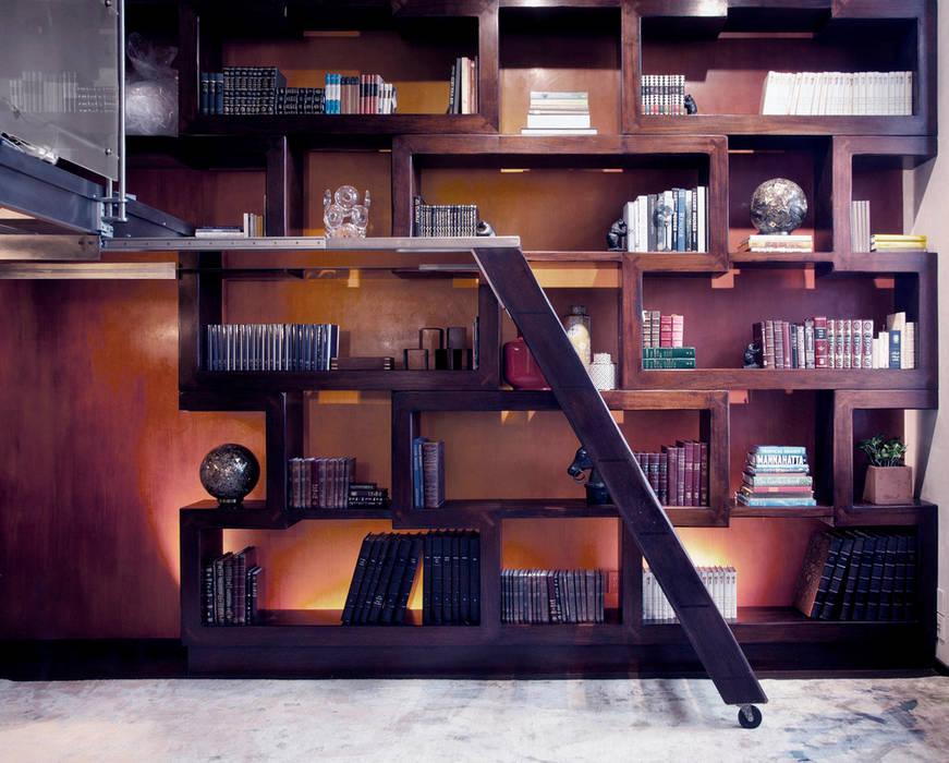 Brooklyn Loft - Custom Bookcase Joe Ginsberg Design اتاق کار و درس Multicolored