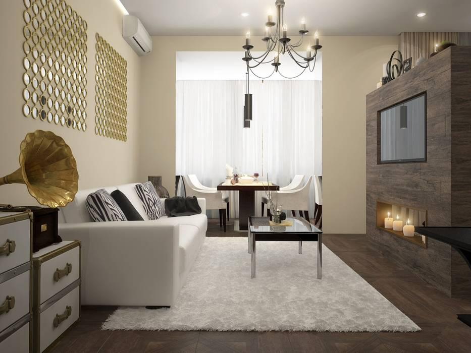 townhouse in modern style:  Living room by design studio by Mariya Rubleva