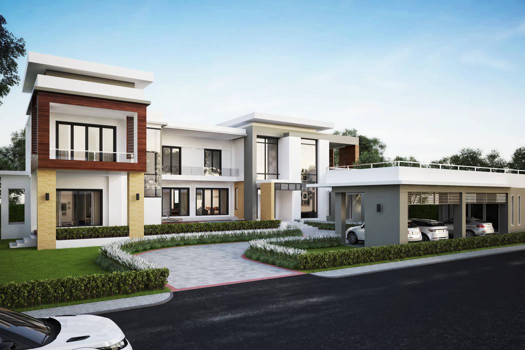 ผลงานออกแบบบ้านพักอาศัย 2 ชั้น Modern1 Style by KL-Cons.:  บ้านและที่อยู่อาศัย by บริษัท เค.แอล.คอนสตรัคชั่น แอนด์ ซัพพลาย จำกัด