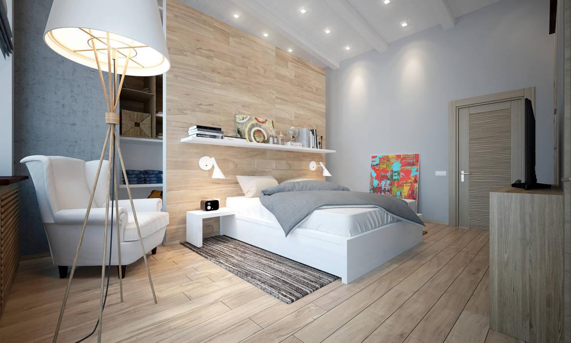 townhouse in scandinavian style:  Bedroom by design studio by Mariya Rubleva