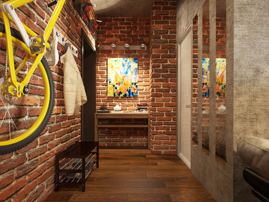 Industrial corridor, hallway & stairs by design studio by Mariya Rubleva Industrial