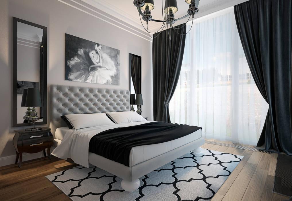 townhouse in modern style:  Bedroom by design studio by Mariya Rubleva