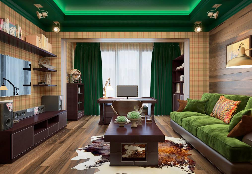 townhouse in modern style:  Study/office by design studio by Mariya Rubleva, Modern