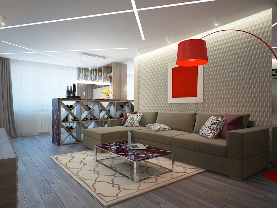 large apartment in a modern style in Moscow:  Living room by design studio by Mariya Rubleva