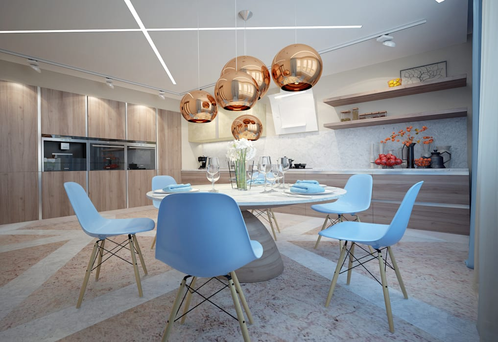 large apartment in a modern style in Moscow Rubleva Design Modern Kitchen
