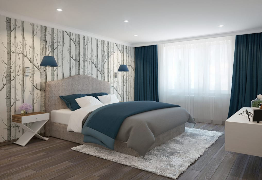 large apartment in a modern style in Moscow Rubleva Design Modern Bedroom