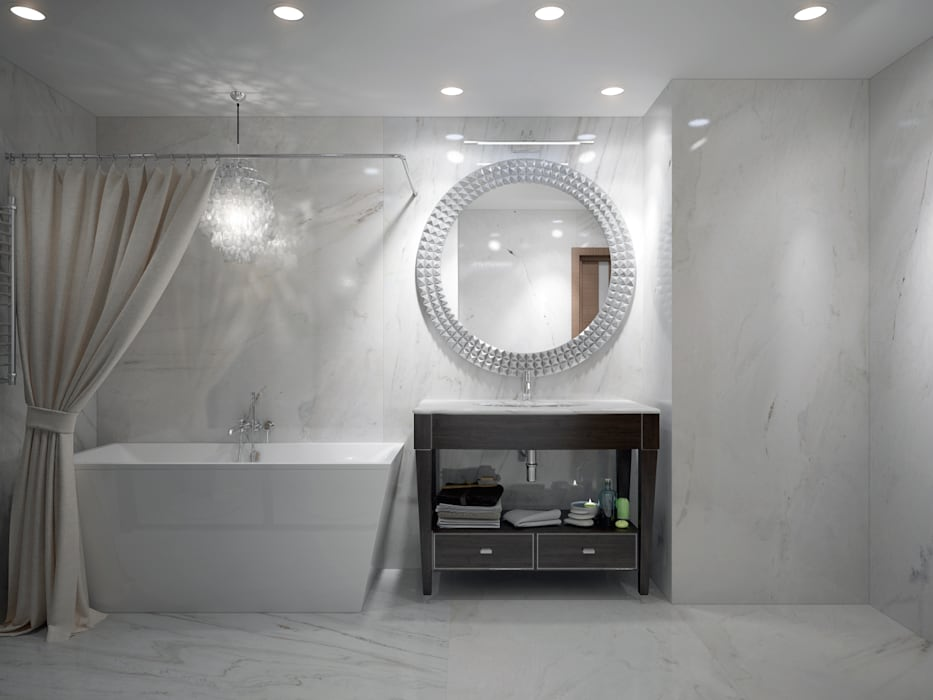 large apartment in a modern style in Moscow Rubleva Design Modern Bathroom
