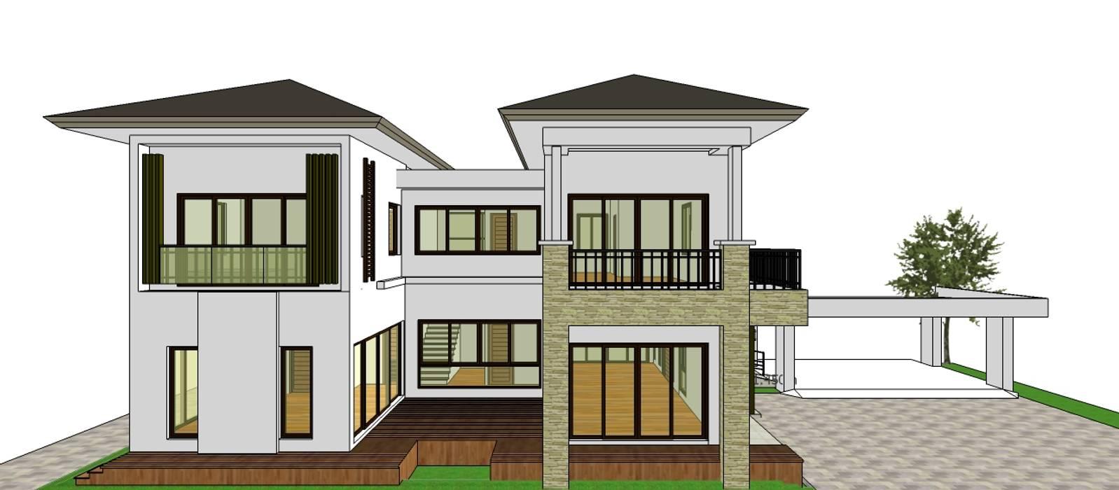 ผลงานออกแบบบ้านอาศัย 2 ชั้น Contemporary Style by KL-Cons.:  บ้านและที่อยู่อาศัย by บริษัท เค.แอล.คอนสตรัคชั่น แอนด์ ซัพพลาย จำกัด