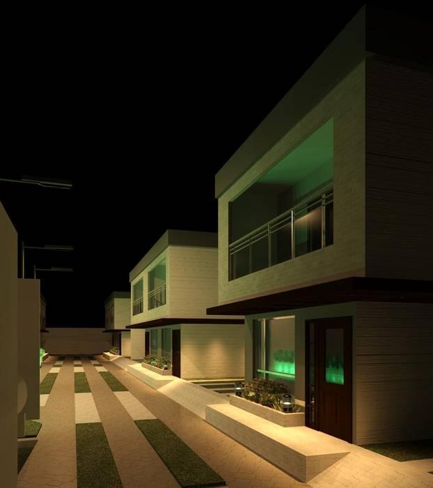 Vista nocturna interna del cunjunto Diseño Store Casas de estilo minimalista Multicolor