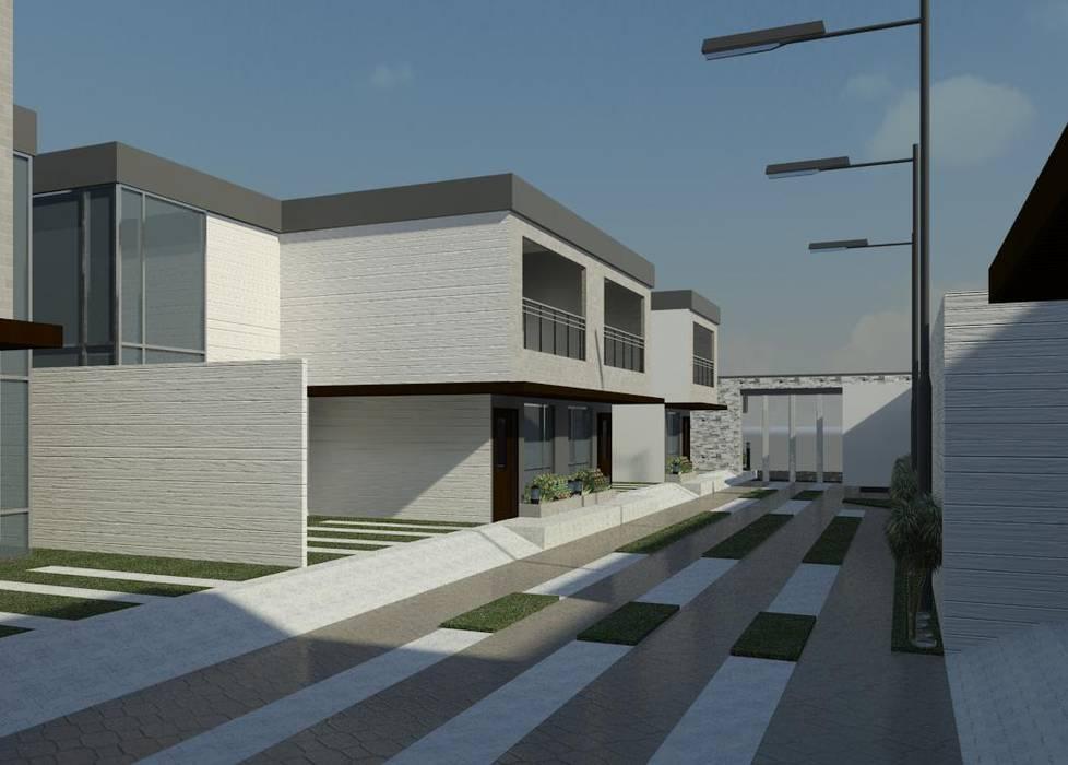 Vista diurna del conjunto (lateral izquierdo): Casas de estilo minimalista por Diseño Store