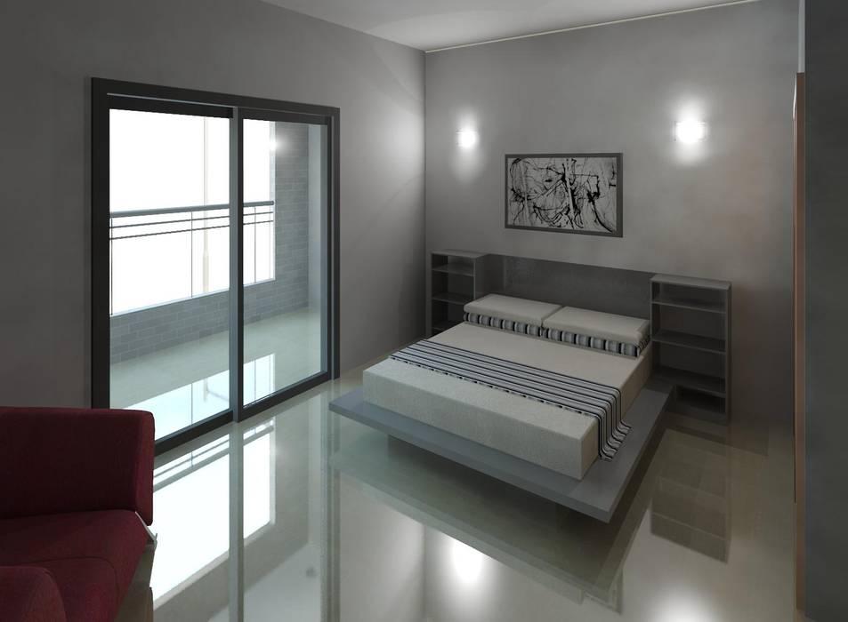 Vista de uno de los dormitorios: Cuartos de estilo minimalista por Diseño Store
