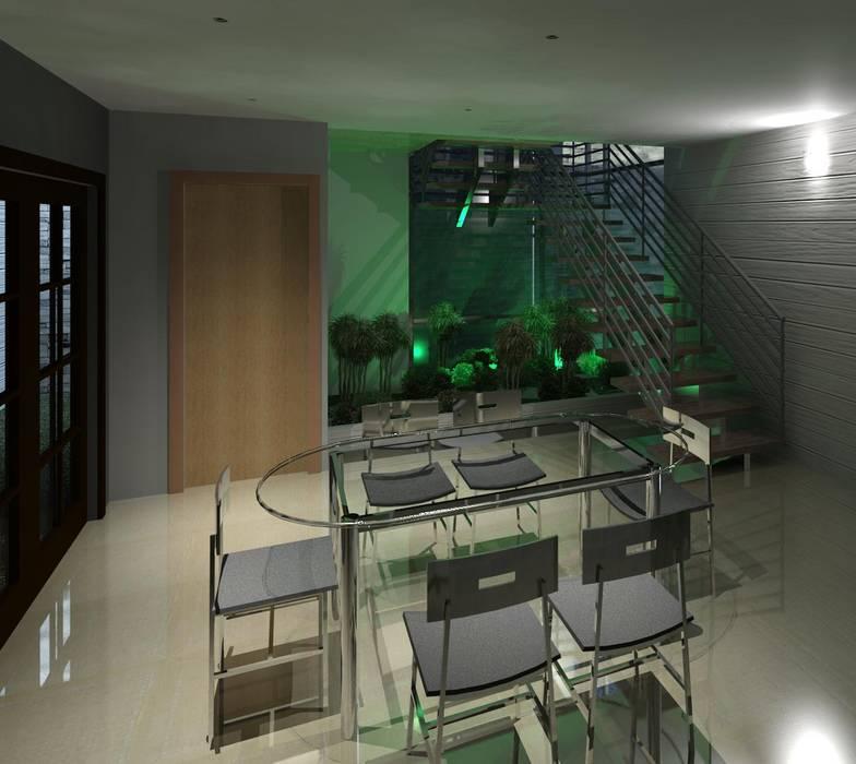 Vista del espacio del comedor y escalera, con iluminación: Comedores de estilo  por Diseño Store