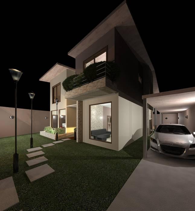 Vista nocturna del acceso Casas modernas de Diseño Store Moderno