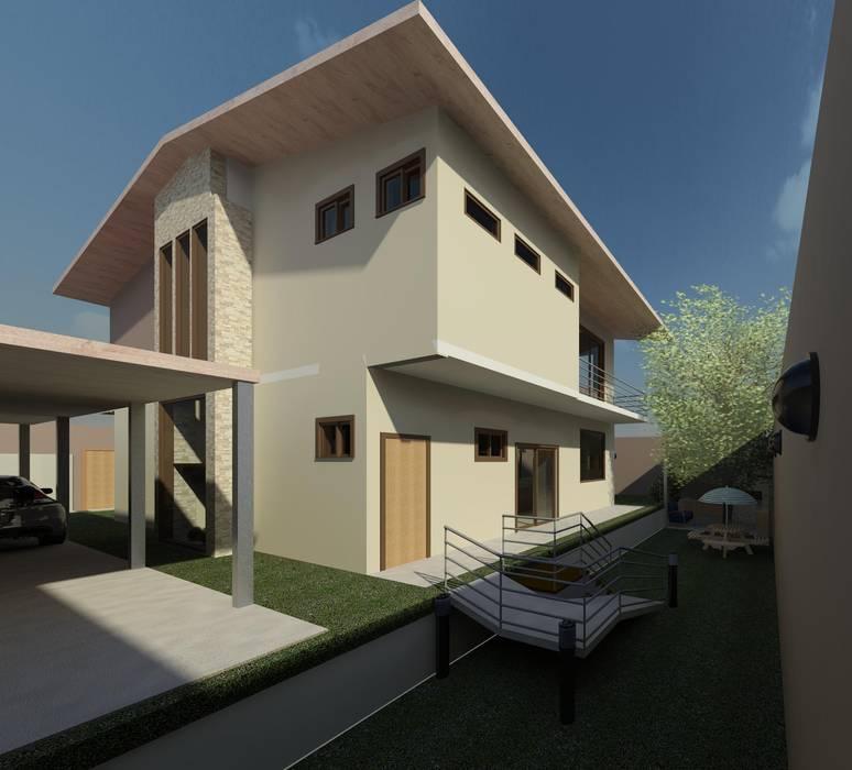 Fachada posterior : Casas de estilo moderno por Diseño Store