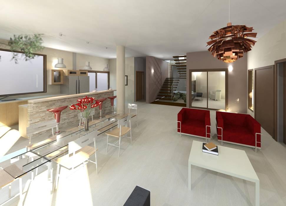 Vista interna integral: Salas / recibidores de estilo moderno por Diseño Store