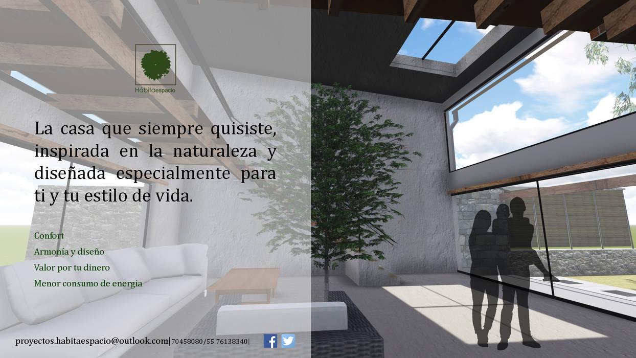 Eco-vivienda en Jiutepec Morelos: Casas de estilo moderno por Habitaespacio