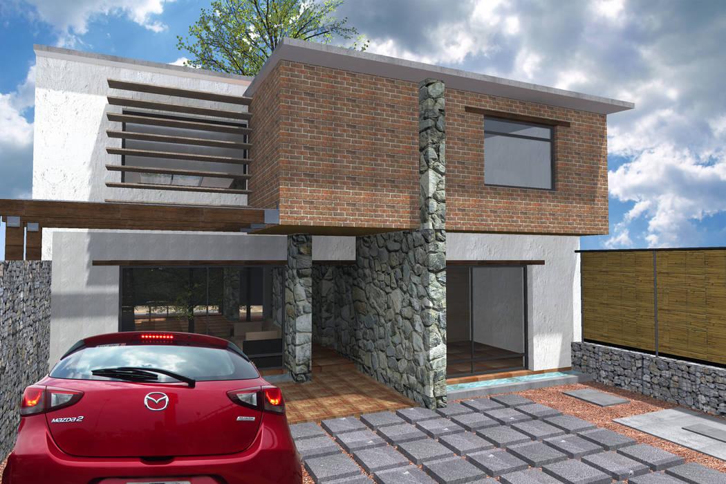 Eco-vivienda en Jiutepec Morelos, fachada Este: Casas de estilo moderno por Habitaespacio