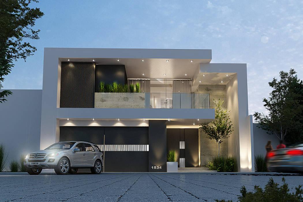 Fachada principal casas de estilo moderno por mstudio for Fachada de casas modernas estilo oriental