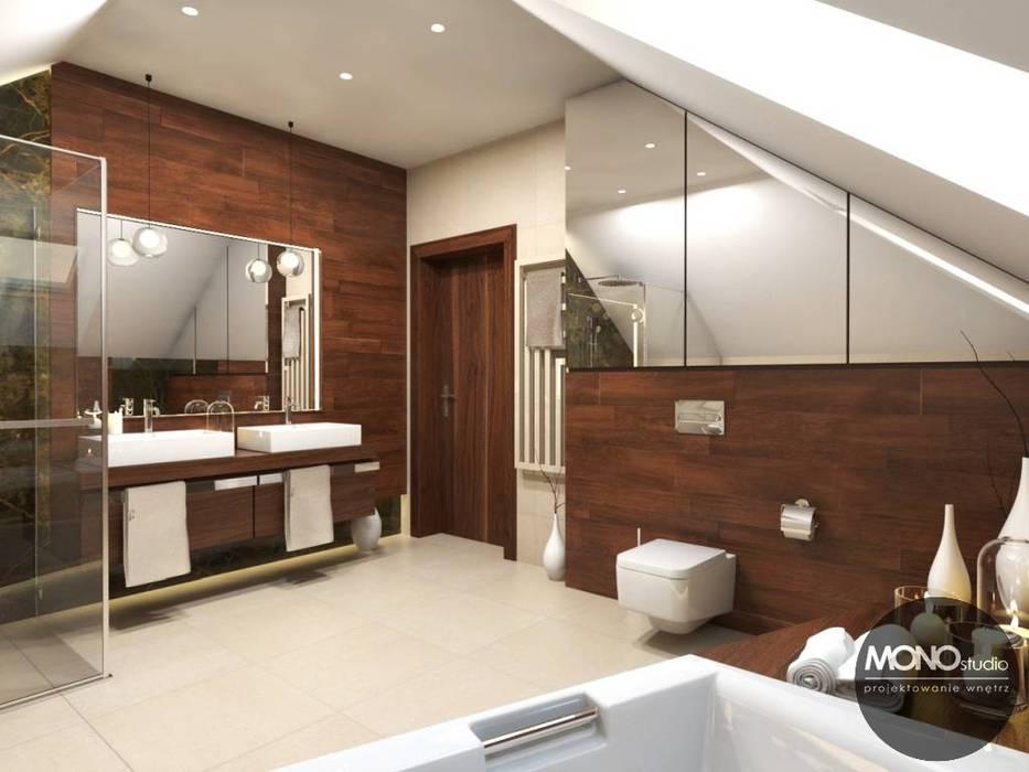 łazienka W Drewnie I Bieli Styl W Kategorii łazienka