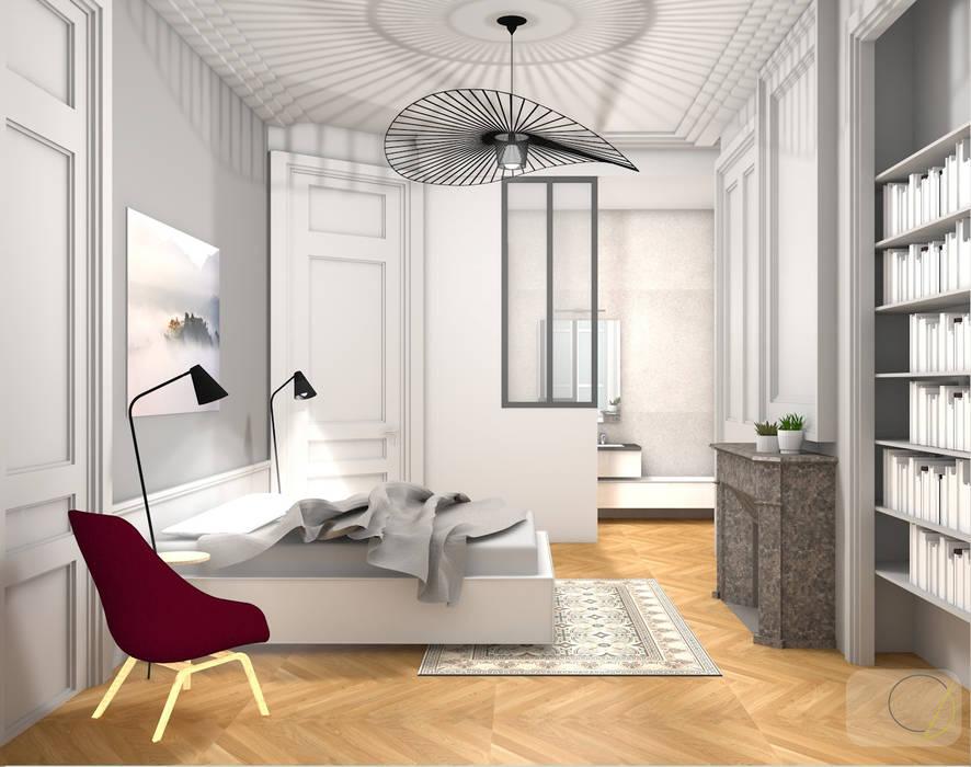 Bien-aimée Rénovation d'un appartement haussmannien - lyon: chambre de style #UU_29