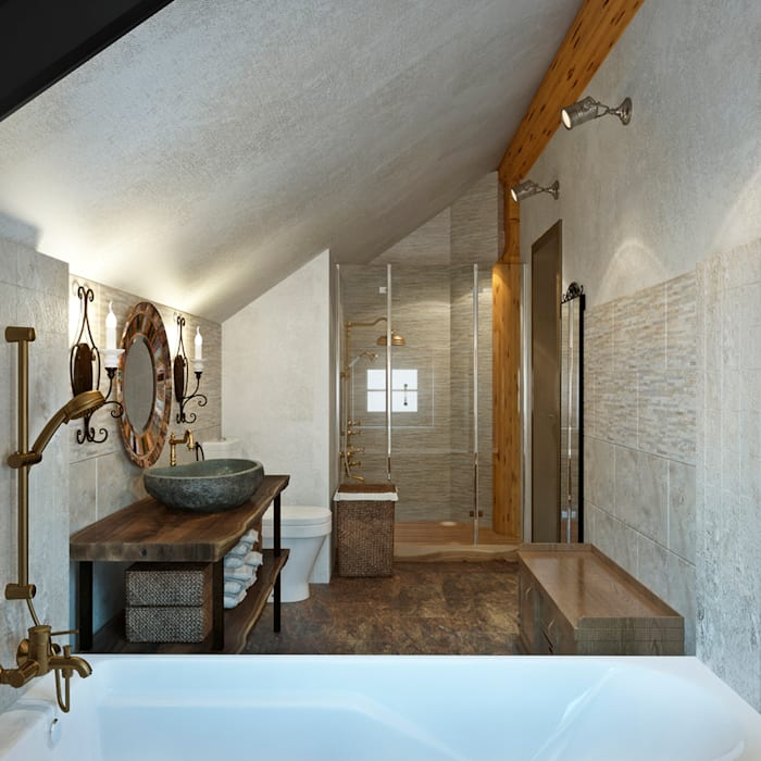 Ванная комната Спа в рустикальном стиле от rudakova.ru Рустикальный Известняк