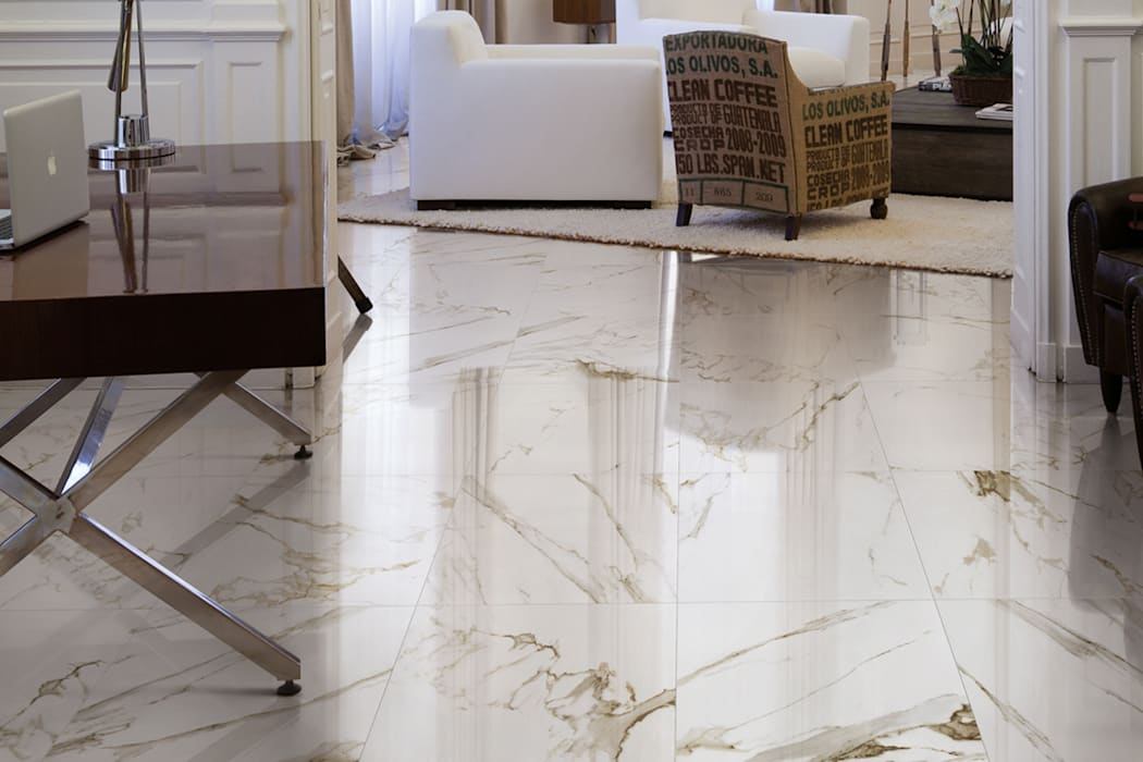 Gres porcellanato effetto marmo Melange Panna - CA 7001: Soggiorno in stile in stile Classico di ItalianGres