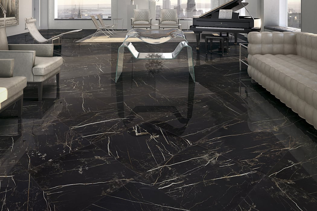 Gres porcellanato effetto marmo Melange Nero - CA 7003: Soggiorno in stile in stile Classico di ItalianGres